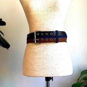 NWOT BCBG Denim Leather Snake Skin Belt